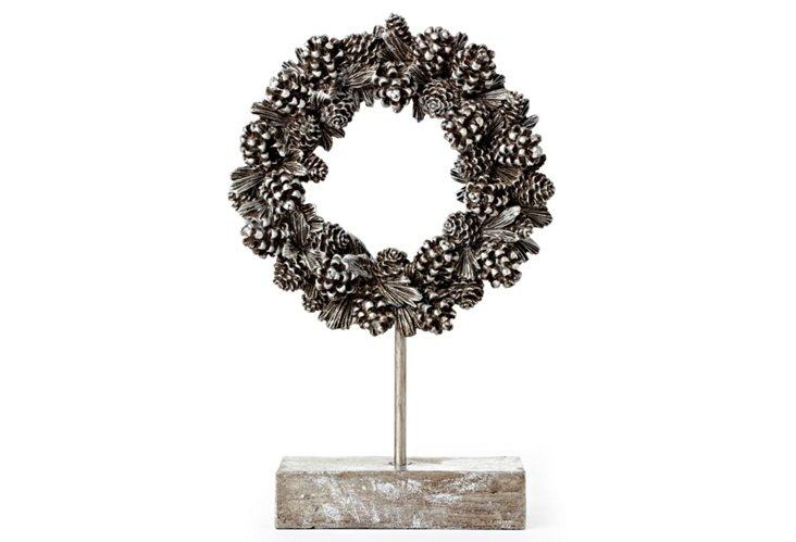 Silver Pinecone Wreath on Stand