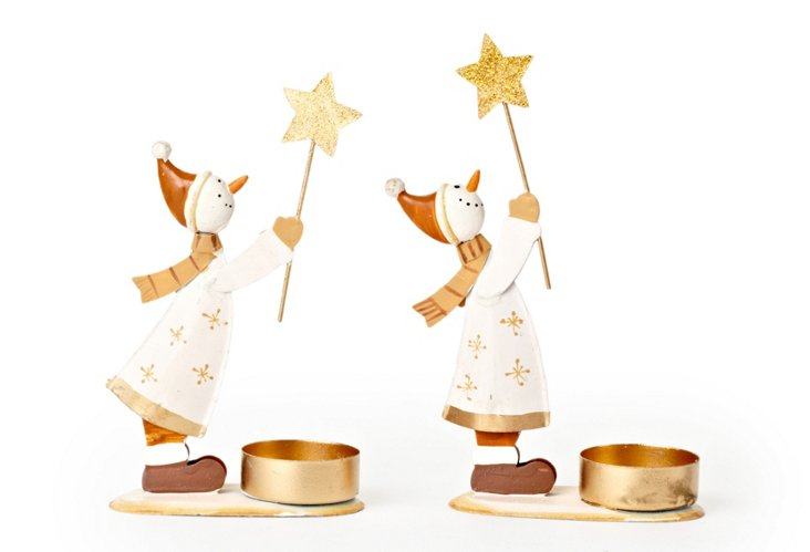 S/2 Snowman Votive Holders w/ Star Clips