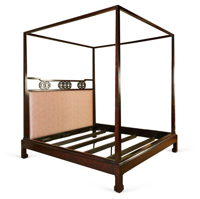 Canton Upholstered Canopy Bed, King