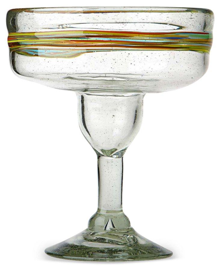 S/4 Rainbow Margarita Glasses
