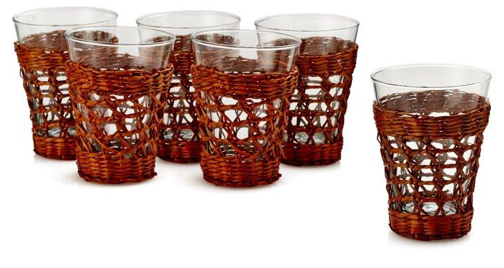 S/6 Bali Juice Glasses & Sleeves