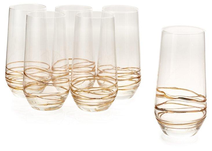 S/6 Encore Highball Glasses, Gold
