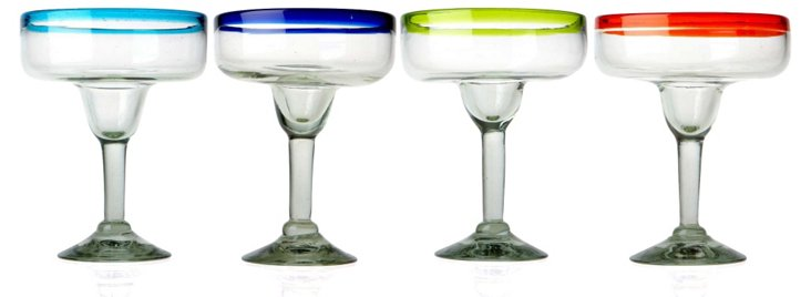 S/4 Assorted Baja Margarita Glasses