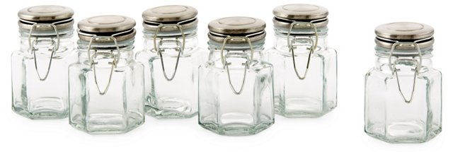 S/6 Hexagon Spice Jars, Green