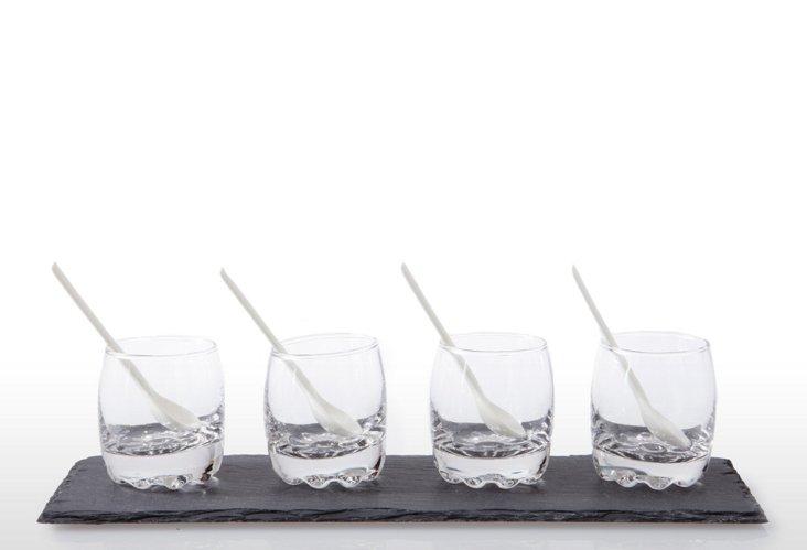 9-Pc Slate & Glass Tasting Set