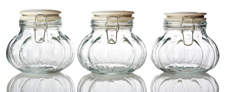 S/3 Meloni Hermetic Jars, 32 Oz