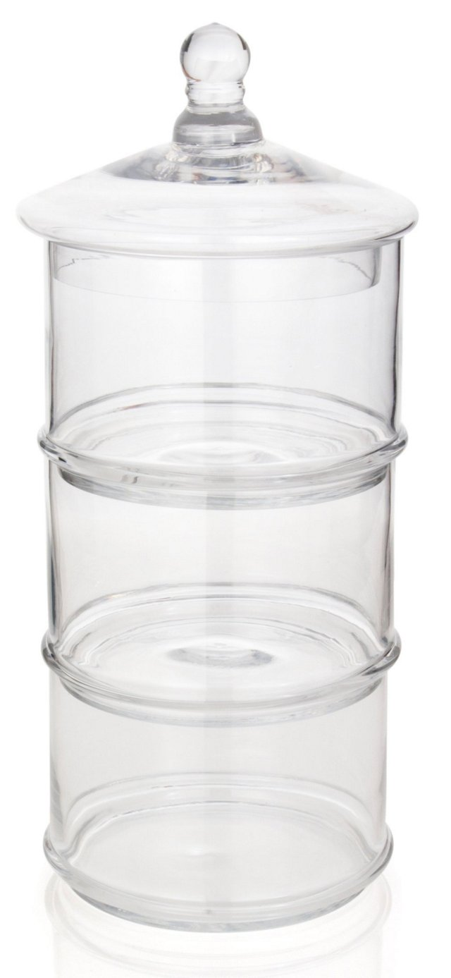 3-Tier Glass Canister, 12.4""