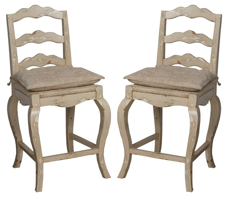 French Provencal Counter Stools, Pair