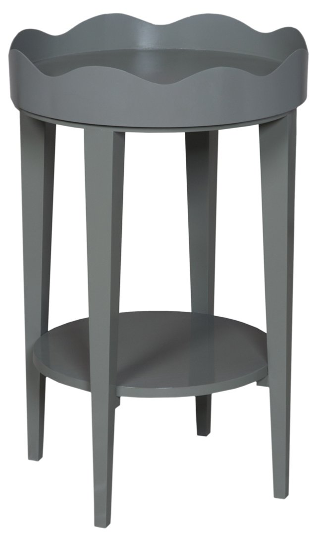 Round Table with Removable Tray, Gray