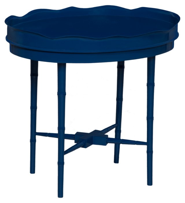 Oval Table with Removable Tin Tray, Navy