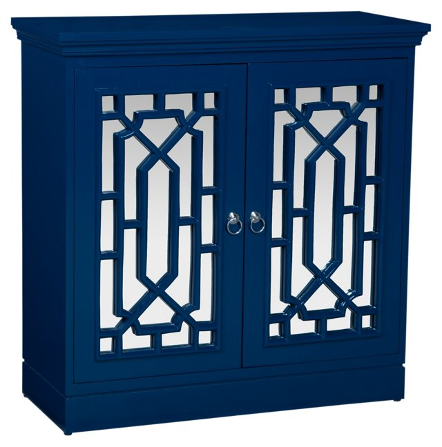 Carine Mirrored Cabinet, Navy