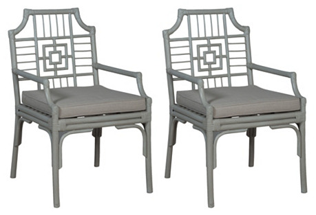 S/2 Manor Armchairs, Gray