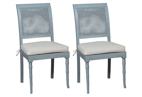 Blue Savona Side Chairs, Pair