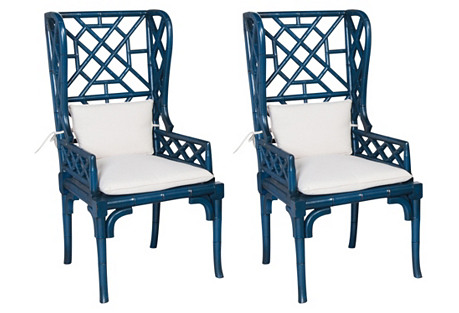 Blue Chippendale Wingback Armchair, Pair