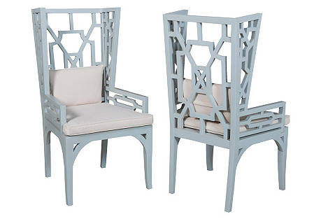 Blue Manor Wingback Chairs, Pair