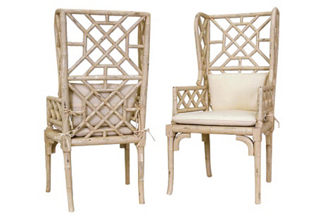 Distressed Bamboo Wingback Chairs, Pair