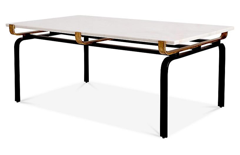 Juliette Rectangular Coffee Table, White/Gold
