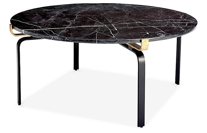 Juliette Round Coffee Table, Black/Gold