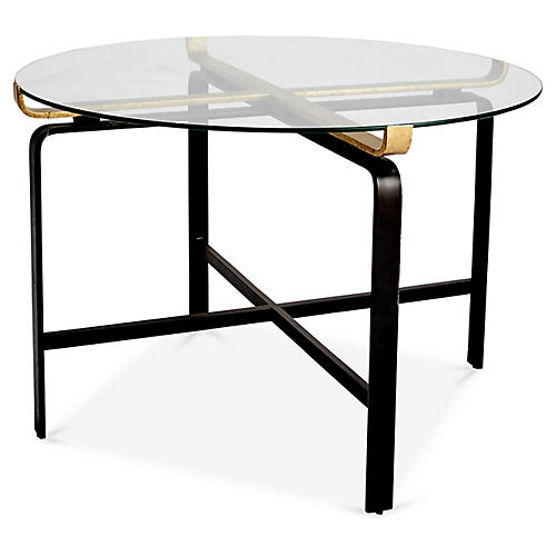 Juliette Round Dining Table, Clear/Gold
