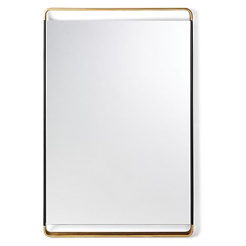 Juliette Rectangular Wall Mirror, Black/Gold