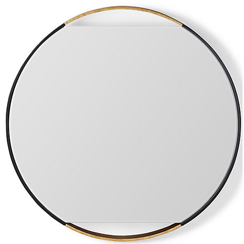 Juliette Round Wall Mirror, Black/Gold