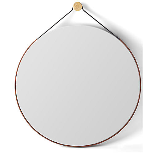 Colton Round Wall Mirror, Bronze/Saddle