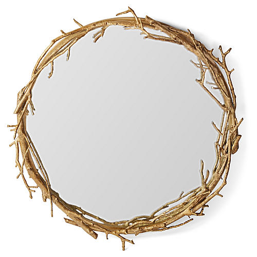 Laurel Round Wall Mirror, Gold