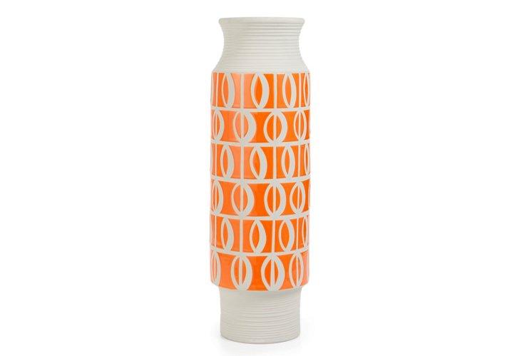 Large Intaglio Vase, Orange/Gray