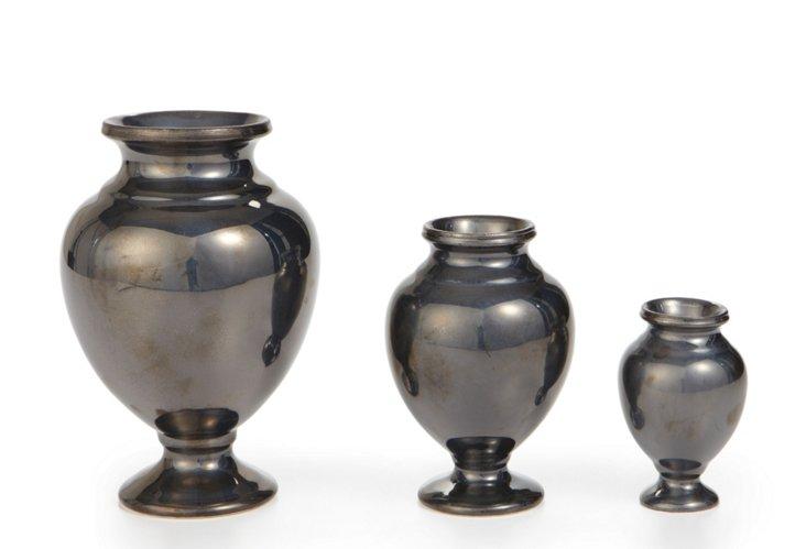 S/3 Pompeii Urns, Bronze