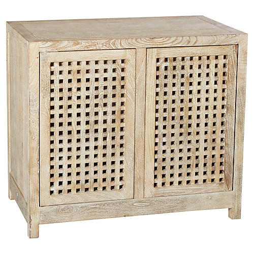 Salisbury 2-Door Grated Cabinet, Natural