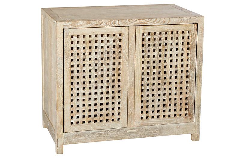Salisbury 2-Door Grated Cabinet, Natural