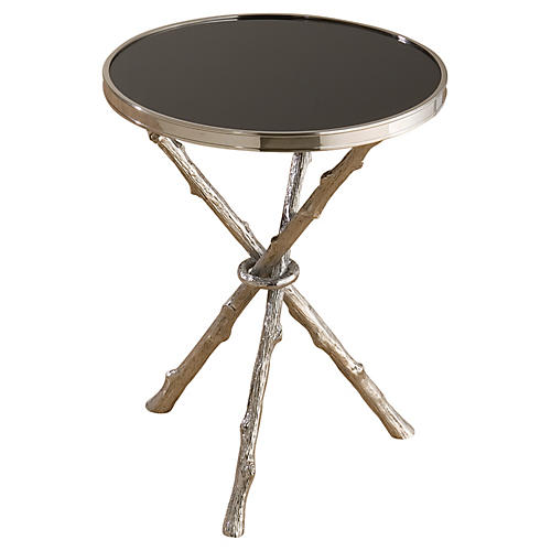 Egeon Faux Bois Side Table, Chrome/Black
