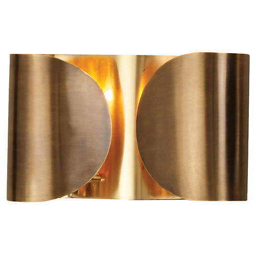 Hardwired 2-Light Folded Sconce, Brass