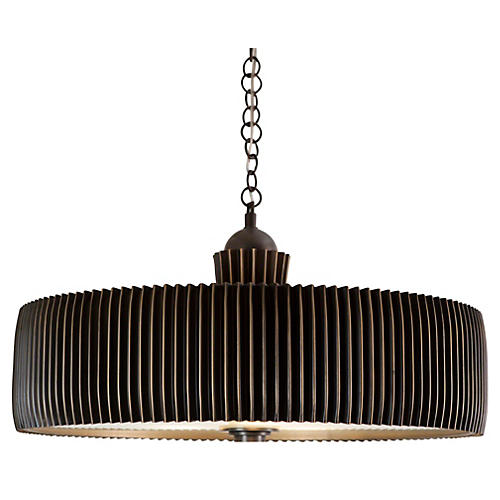 Crimp 3-Light Chandelier, Bronze