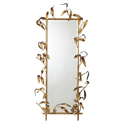 "Bamboo 28""x49"" Oversize Mirror, Gold"