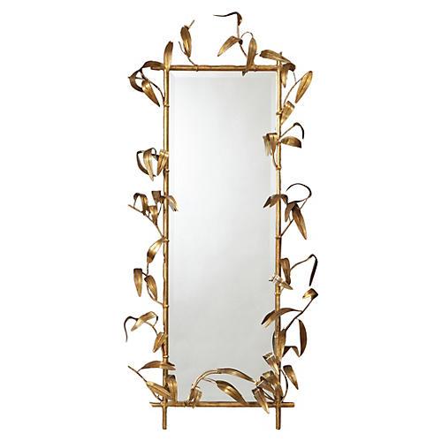"Bamboo 28""x49"" Oversize Mirror, Gold"