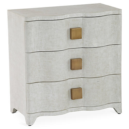 Toile 3-Drawer Nightstand, Antiqued White Linen