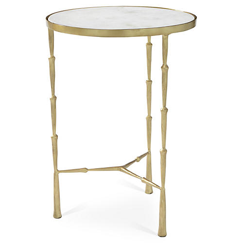 Spike Side Table w/ White Marble