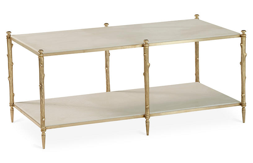 Arbor Coffee Table, Gold/Ivory