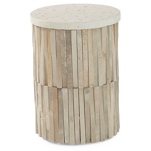 Round Indoor/Outdoor Stone Side Table