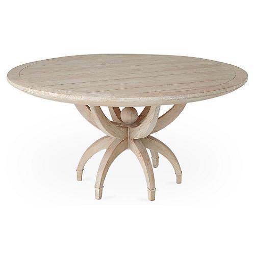 """Klismos 60"""" Dining Table, Whitewash"""
