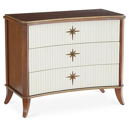Klismos 3-Drawer Cabinet, Walnut/Ivory