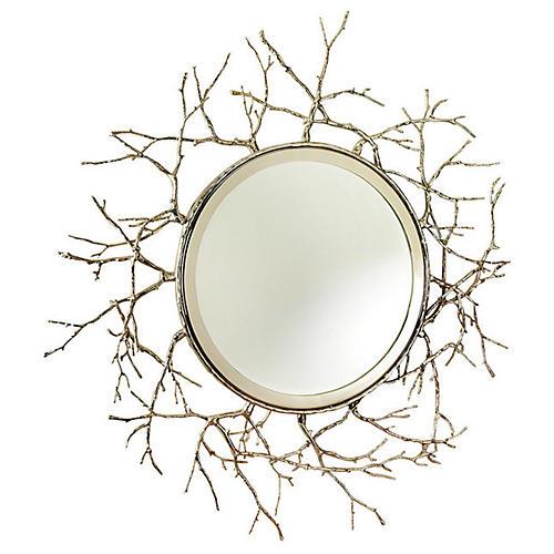 """Twig 44"""" Wall Mirror, Nickel"""