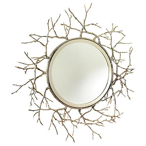 "Twig 44"" Wall Mirror, Nickel"