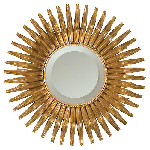 "Round 19"" Sunburst Accent Mirror, Gold"