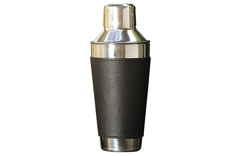 Leather-Wrapped Cocktail Shaker, Black