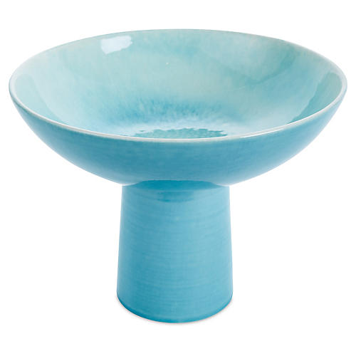 Chamomile Footed Bowl, Turquoise