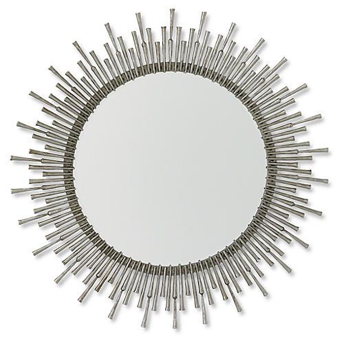 """Laura 42""""x39"""" Wall Mirror, Nickel"""
