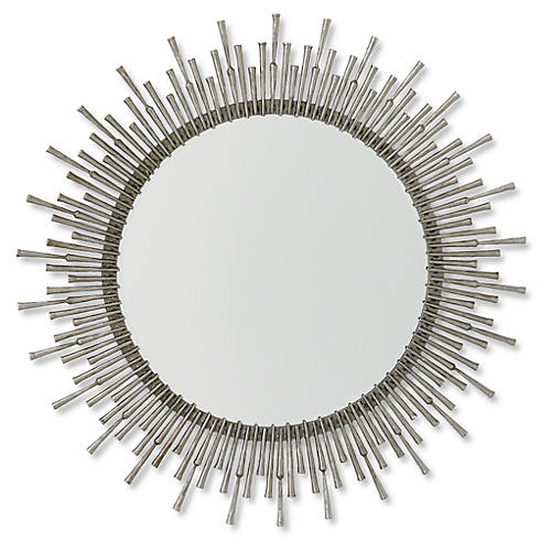 "Laura 42""x39"" Wall Mirror, Nickel"