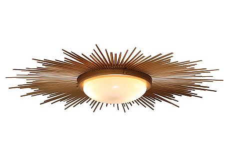 Sunburst Flush Mount, Gold